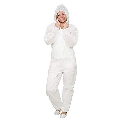 10 x Monos de trabajo desechables con cuello – Color: blanco – Tamaño XXXL – sin capucha – traje de protección de PP – Mono de pintor