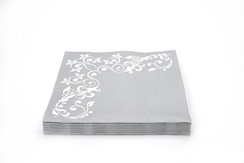 "Simulinen DISPOSABLE Dinner Napkins – DECORATIVE, FANCY, SILVER– Cloth Like Dinner Napkins – Soft, Absorbent & Durable – 16""x16"" – Pack of 50 by Simulinen (Image #1)"