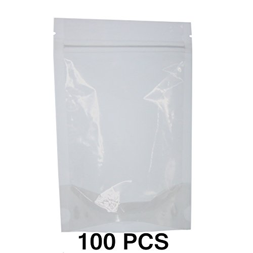 SumDirect Clear Zipper Resealable Stand Up Drink Bags Pouches,Snack Packing Bags for Food Snack Tea and Drinking, 5.1x7.8 Inches,12oz,350ml,Pack of 100