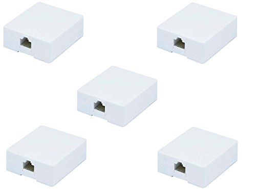 3.4 Fluid (Networking Cables & Adapters Plugs, Jacks & Wall Plates 5x 1 port 8P8C RJ45 Cat5e Cat6 Network Cable Wall Surface Mount Box Adhesive)
