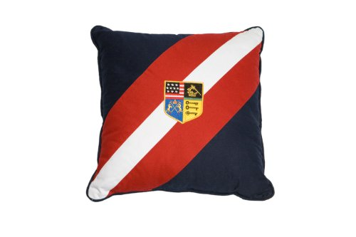 U.S. Polo Assn. Decorative Pillow with Diagonal Twill Banding and Crest Applique, Sport Stripe, Square 16-Inch by 16-Inch