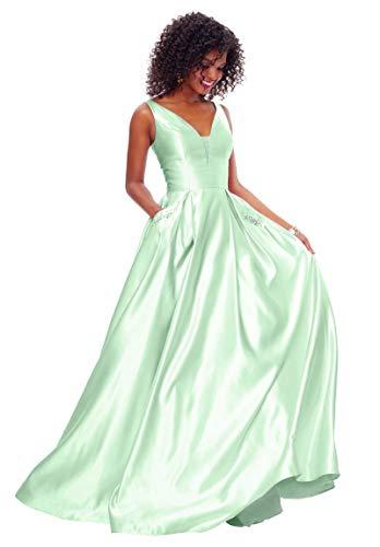 (Zhongde Women's A-line Open Back Beaded Satin V Neck Formal Party Ball Gown Long Prom Dress Mint Green Size 8)