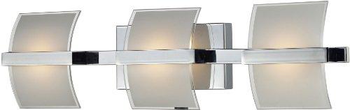 Elk 81032/3 25 by 4-Inch Epsom LED 3-Light Bathroom Vanity Light with White Glass Shade, Chrome (Elk Lighting Wall Vanity)