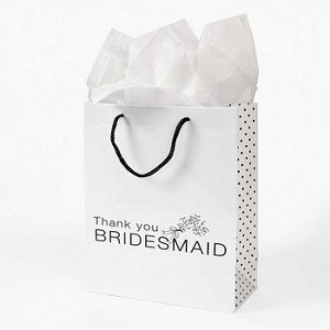 Fun Express Lot of 12 White Paper Thank You Bridesmaid Wedding Bridal Party Gift Bags ()