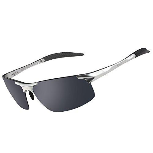Duco Men's Sports Style Polarized Sunglasses Driver Glasses 8177S (Silver Frame Gray - Sunglasses Sports Rx