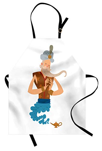 Ambesonne Wizard Apron, Cartoon Genie Character Coming on White Old Fairytale Miracle, Unisex Kitchen Bib Apron with Adjustable Neck for Cooking Baking Gardening, Multicolor