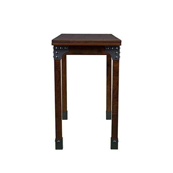 Southern Enterprises Deveron Flip Top Convertible Console Dining Table, Warm Brown with Rustic Black Finish