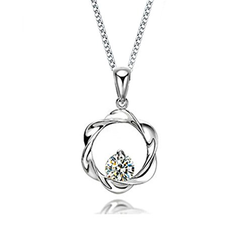 Cat Eye Jewels Women S925 Sterling Silver Round Cut Clear Crystal CZ Cubic Zirconia Diamond Halo Heart Pendant Necklace 16inch Chain with Extension Chain