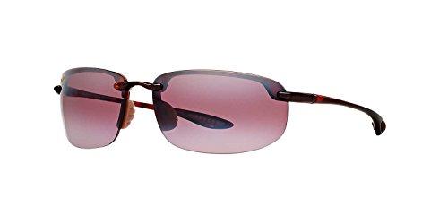 Rectangular Billiard Shade - Maui Jim Sunglasses | Ho'okipa R407-10 | Tortoise Rimless Frame, Polarized Maui Rose Lenses, with Patented PolarizedPlus2 Lens Technology