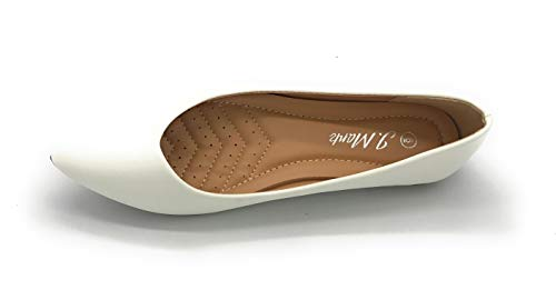 Women's Casual Pointed Toe Ballet Flats Comfort Classic Slip Ons (8 US, 85WHITE)