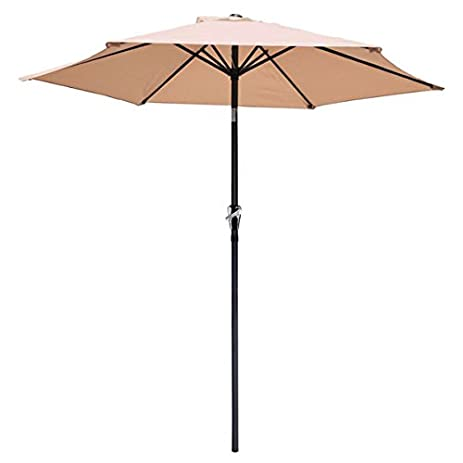 8 Foot Diameter Patio Outdoor Furniture Umbrella Tilt Angle Aluminum Pole  Avid Apricot Color Sunshade Waterproof