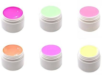 6 x 5 ml Pastel Neon Efecto gel UV Gel fabricado en Alemania PNG ...