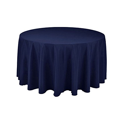 GFCC Round Polyester Table Cover 100% Polyester Tablecloth(Navy Blue, 96-Inch) ()