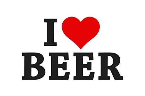 I Love Beer White Poster 12x18