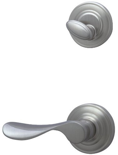 Schlage FA359CHP619RH Champagne Interior Right-Handed Lever with Deadbolt, Satin Nickel