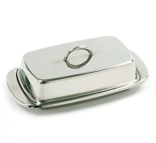 Double Butter Dish Table Serving Tray Storage Stainless Steel ()