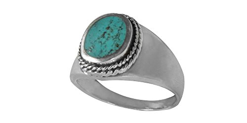 Southwest Sterling Silver 8x11mm Genuine Turquoise Men's Ring (R807-T) (13) (Gallery Silver Turquoise Ring)