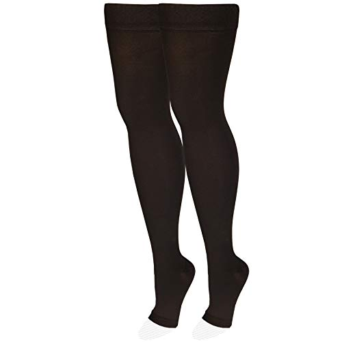 NuVein Medical Compression Stockings, 20-30 mmHg Support, Women & Men Thigh Length Hose, Open Toe, Black, Small