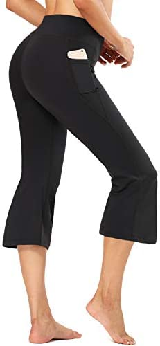 FIRST WAY Buttery Soft Women's Bootcut Yoga Capris with 3 Pockets Lounge Floral Printing Wide Leg Pants