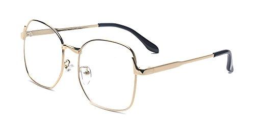ALWAYSUV Classic Metal Square Full Frame PC Clear Oversized Lens Retro - Glasses Retro Oversized
