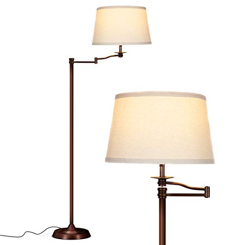 Brightech Caden Swing Arm LED Floor Lamp- Classic Lamp with Extending Arm - Diffusing Lamp Shade - Tall Industrial Uplight for Living Room, Family Room, Office or Bedroom - Bronze Arm Led Floor Lamp