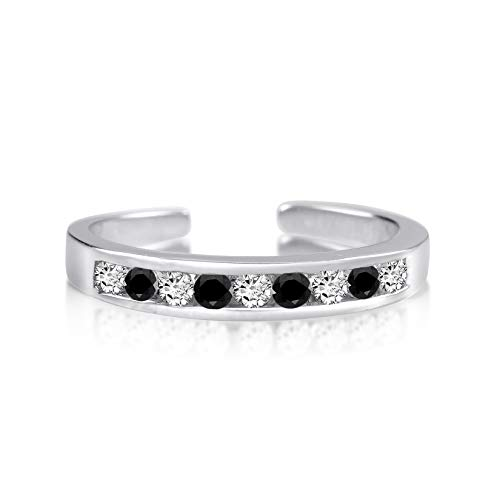 Rhodium Plated Sterling Silver Toe Rings Round Cut Cubic Zirconia White and Black Channel - Black Toe Ring