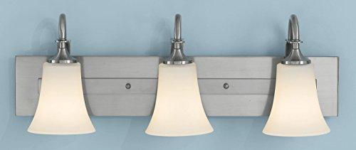 Feiss VS12703-BS Barrington Glass Wall Vanity Bath Lighting, Satin Nickel, 3-Light (24