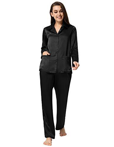 Zexxxy Women Solid Color Pajamas Long Button-Down Pj Set Notch Collar Sleepwear Black M