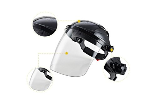 Safety Works Adjustable Headgear Face shield with Visor Mask Clear Face and Head Coverage Polycarbonate Used for - Light Construction, General Manufacturing, Cutting Metal, Cutting Wood (TL-1021) by JEWELS FASHION (Image #3)