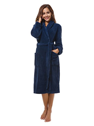SIORO Fleece Bathrobe Women's Long Plush Robe Ladies Soft Shawl Collar Sleepwear Girls Warm Loungewear With Pockets Water Absorbent Pajamas Dressing Gown Solid Navy M