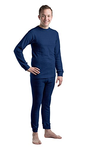 Beged Men's Thermal Long John Cotton Underwear Set - Long Sleeve Undershirt & Legging | Heat Retention, Made for Cold, Frozen Weather | Skinny Fitted Bed Time Pajamas L Navy (Mens Frozen Underwear)