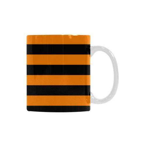 Best Gift Mug - Halloween Fall Striped Orange And Black Motivational Inspired Quotes White Mug Coffee/Tea Cup All Over Printed -