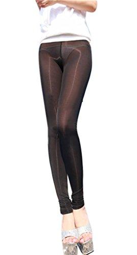 (LinvMe Women's Sexy See Through Sheer Tight Pants Nylon Legging L Black)