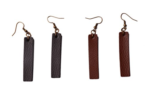 L&N Rainbery 2 Pairs Bar Leather Earrings Antique Looking Long Pendant Faux Leather Bohemia Dangle Drop Earrings (Genuine Black+Brown)