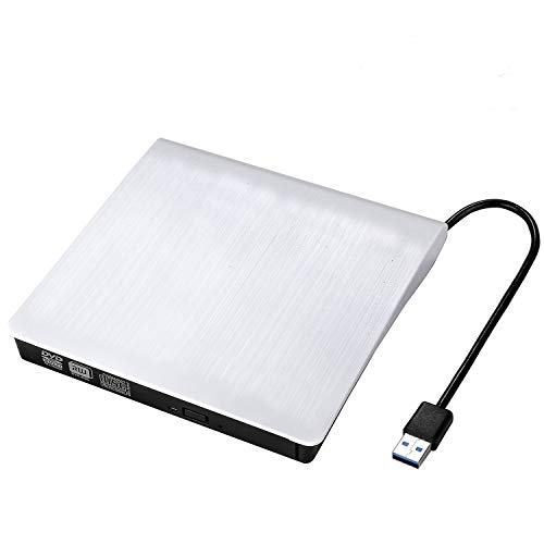 External CD Drive, MMUSC USB CD/DVD-RW Drive, Slim High Speed CD Player Burner for Macbook Air Pro/Air/iMac and Laptop Desktops Support Windows/Vista/7/8.1/10, Mac OSX (White)