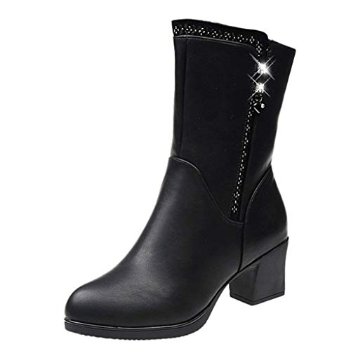 Women's Button Round Toe Square Heel Keep Warm Leather Booties Zipper Flat Clearance Wild Boots, Fire And Safety Shoes | Snow Ankle Winter Stretcher Rain Thursday Socks (Black 36)