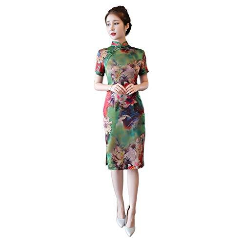 Reveryml Mujer Vestido de Estilo Chino Vintage Qipao Cheongsam Oriental Vestido Chino Tradicional Ropa para Mujer 883