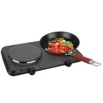 Jata CE220 Cocina eléctrica con 2 Placas caloríficas, 2250 W, Negro