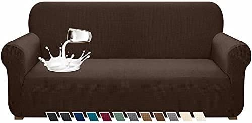 Pitpet Upgraded Water-Repellent Sofa Cover Stylish Stretch Couch Cover for 3 Cushion Couch Non-Slip Sofa Slipcover with Elastic Band Pet Proof Furniture Protector for Living Room (Large, Chocolate)
