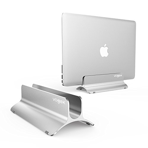 Vertical Laptop Stand, Macbook Stand Holder Adjustable Size Desktop Space-saving Notebook Holder Compatible with Macbook Air/Pro, Surface Pro, Samsung Notebooks and More (Silver)