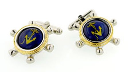 JJ Weston Ships Wheel and Anchor Cufflinks. Made in the USA.