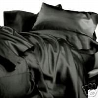 New King Size Satin Sheet Set - Includes 1 fitted sheet, 1 flat sheet and 2 pillow cases - Black (King Size Satin Comforter Set)
