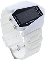 Trendy V Shaped Design Silicone and Stainless Steel Water Resistant Digital Multi Functional Wrist Watch in Wh