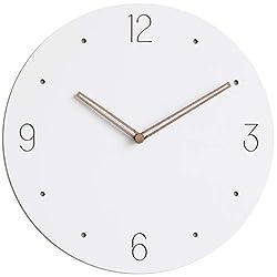 Stephanie Imports Modern Minimalist Wood on White Wall Clock
