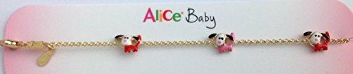 Bracelet pour bébé, en or 18 carats avec des chiots émaillé à la main
