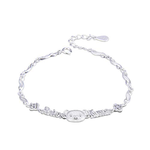 (Hugdong Cartoon 925 Silver Bear Head with Relax Kuma Bracelet with Jewelry Box,Bear Bracelet for Women (Silver))