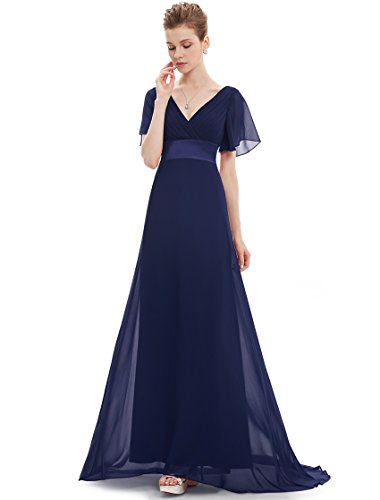 Ever-Pretty Womens Flutter Sleeve Chiffon Long Bridesmaids Dress 16 US Navy Blue (Bridesmaid Dress Mother Long)