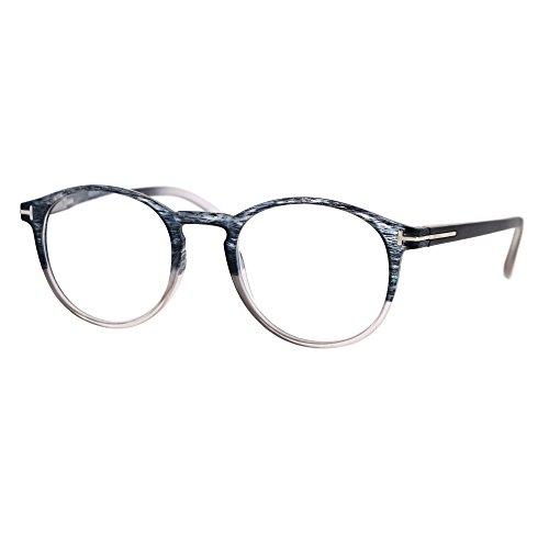 Magnified Reading Glasses Round Keyhole Fashion Frame Spring Hinge Gray - Photo Glasses Gray