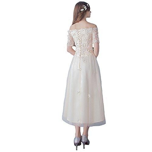 Engerla - Vestido de novia - trapecio - Floral - Manga corta - Mujer crema