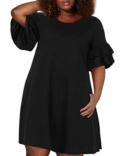 Nemidor Women's Ruffle Sleeve Jersey Knit Plus Size Casual Swing Dress with Pocket (Black, 24W)